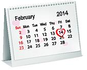 Calendar with hand written red heart. February 14 of Saint Valentines day. Vector illustration.