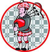 Scotsman Bagpiper Playing Bagpipes Cartoon