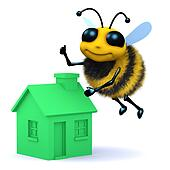 3d Honey bee with a green house