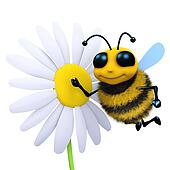 3d Bee and flower