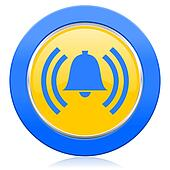 alarm blue yellow icon alert sign bell symbol