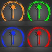 Mace icon symbol. Fashionable modern style. In the orange, green, blue, green design.