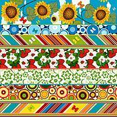 Decorative seamless summer border