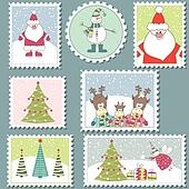 Set of colorful Christmas Postage