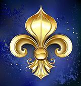 Gold Fleur-De-Lis on a Blue Background