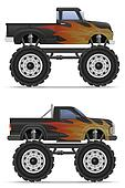 monster truck car pickup illustration