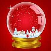 snow globe with landscape and snow man