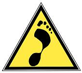 sign with a foot print