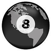earth or globe with eight ball overlay