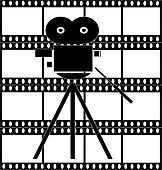 filmstrip with movie camera