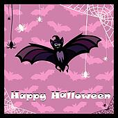 greeting card with cute bat