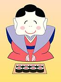 vector cartoon japanese geisha with sushi