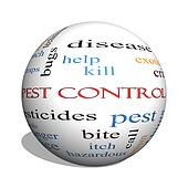 Pest Control 3D sphere Word Cloud Concept