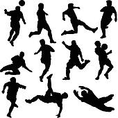 football team vector silhouettes