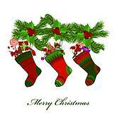 illustration of christmas socks on a white background