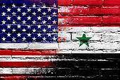 USA and Syria Flag painted on brick wall
