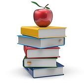 Textbooks book stack blank different multicolor and apple