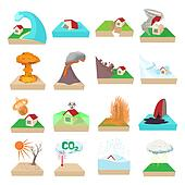 Natural disaster icons set, cartoon style