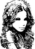 beautiful lady with flower decorati