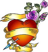 heart with ribbon and rose