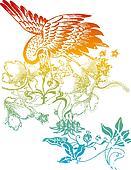 oriental classic bird illustration