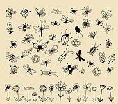 Insect sketch collection for your design
