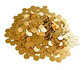 Save the money. Stack of golden coins