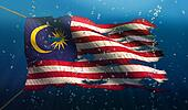 Malaysia Under Water Sea Flag National Torn Bubble 3D