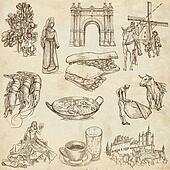 Spain travel - An hand drawn pack