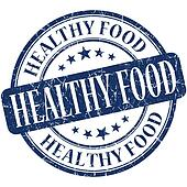 Healthy food blue round grungy vintage rubber stamp