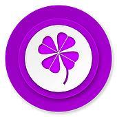 four-leaf clover icon, violet button