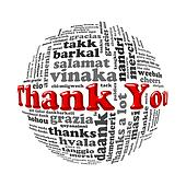 Wordcloud word tags ball of thank you