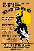 American Rodeo Cowboy riding bull bucking