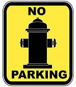 no parking near fire hydrant sign