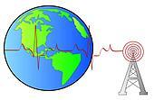 radio tower beside globe
