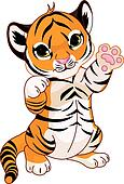 Cute playful tiger cub