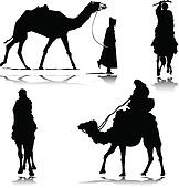 camel in action vector silhouettes