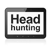 Finance concept: Head Hunting on tablet pc computer