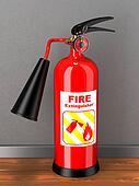 Extinguisher in room. Concept