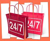Twenty four Seven Shopping Bags Show Hours Open