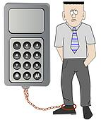 business man chained to his cell phone