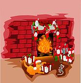 Christmas fireplace with cat and mouse vector illustration background