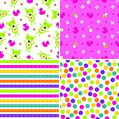 Seamless background patterns in pink and green