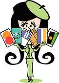 Girl With Credit Cards Clip Art