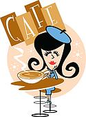 Girl In Cafe Clip Art