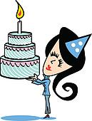 Girl With Birthday Cake Clip Art