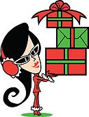 Girl Christmas Presents Clip Art