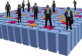 Business people company team work abstract cubes