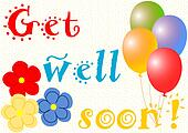 Get well soon balloons and flowers