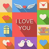 valentine's day and wedding icons background flat style